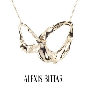■Alexis Bittar■ Retro Gold Crumpled Link Necklace